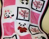 "Panda Minky Baby Quilt ,"" Cherry Blossom Pandas"""