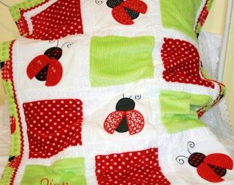 Lovely Ladybugs Cuddly Minky Blanket