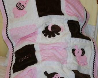 "Appliqued Pink Elephants Minky Blanket   ""Pretty in Pink Adorable Elephant """