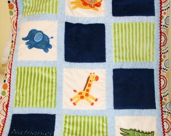 """Appliqued Minky Baby Blanket """"It's a Jungle Again"""""""