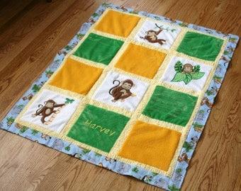 "Monkey Minky Baby Blanket ""Monkey Business"""
