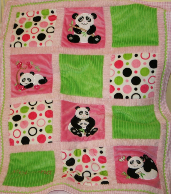 "Baby Blanket Personalized, Appliqued Minky ""Panda"""