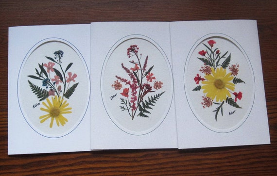 pressed flower cards for spring, set of three