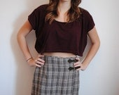 SALE Vintage 90s Grunge Esprit Wool Tartan Beige School Girl Mid-Length Skirt (small)