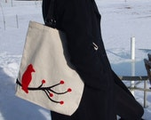Red and black bird tote
