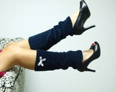 Blue leg warmers with lace trim Upcycled