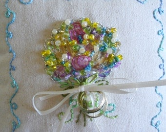 Spring Bouquet Ring Bearer Pillow