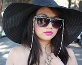 ON SALE Chain Gang Sunglasses in Blue with a Silver Chain