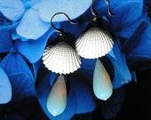 Seashell Opalite Earrings - Seawater -  Mermaid Seashell  Earrings