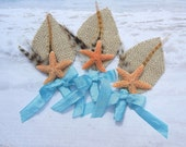Burlap Sugar Blue Starfish Boutonniere or Corsage