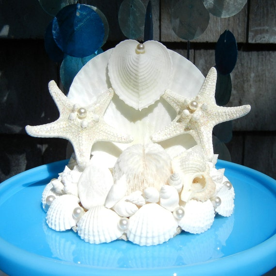 seashell starfish wedding cake topper seaheart by shellscapes. Black Bedroom Furniture Sets. Home Design Ideas