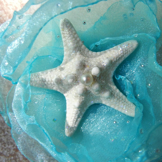 Starfish Shoe Clips - Elegant Stars - Turquoise Cloud Pearly Starfish Shoe Clips