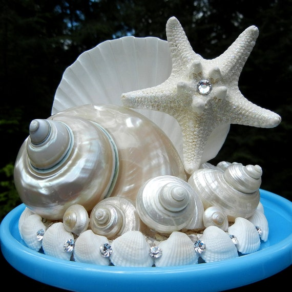 diamonds and waves seashell wedding cake topper. Black Bedroom Furniture Sets. Home Design Ideas