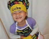 Children's Retro Plaidsportation Apron and Chef Hat