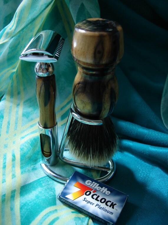 Shaving Set, Double Edge Razor, Badger Brush, Chrome Stand, Exotic Woods, Personalized Engraving, Set 18