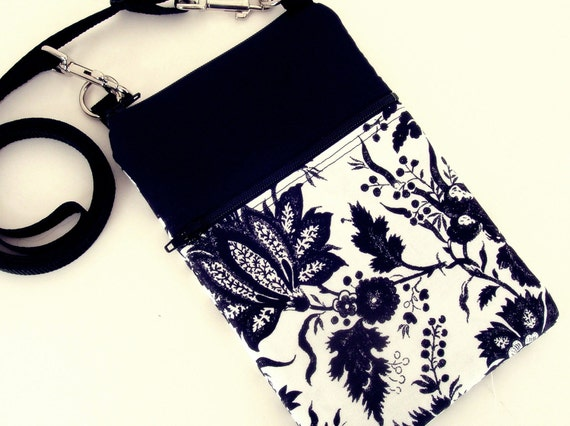 Small Shoulder Bag, Cross Body Bag, Sling Purse, Black and White Floral