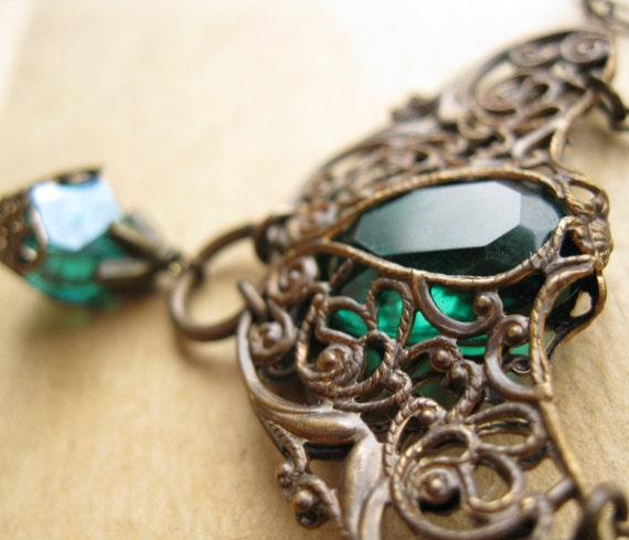 Shop Closing - Green Glass Necklace Wrapped with Vintaj Brass  - Moth