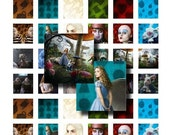 Digital Collage sheet - Tim Burton's Alice - 1 inch squares