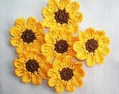 6  Handmade  Crocheted  Sunflowers  Appliques/Crafts/Scrapbooking    Supplies    Qulting