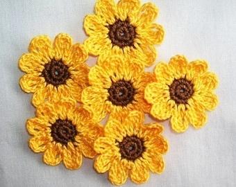 6  Handmade  Crocheted  Sunflowers  Appliques/Crafts/Scrapbooking