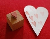 tiny heart - hand carved heart stamp