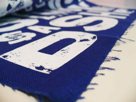 screen printed fabric white on navy blue linen Type design