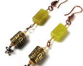 Long Jade Earrings, 3.5 inch, Antiqued Gold, Copper