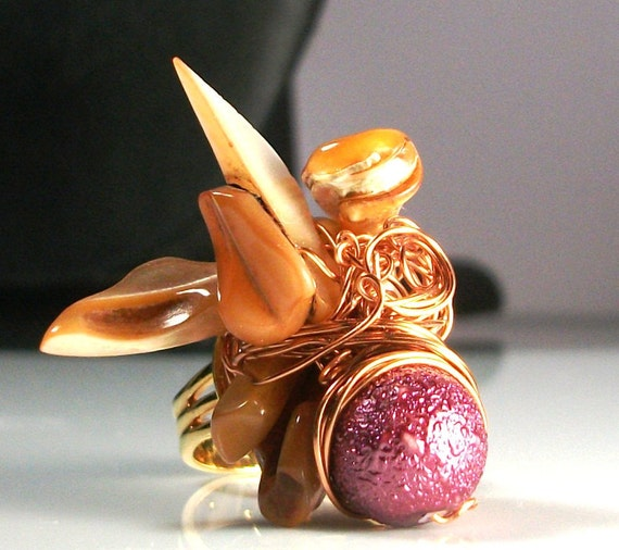 Statement Ring, Chunky, Gold, One of a Kind