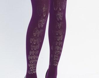 Purple tights Leg jewel, silver on purple, one size