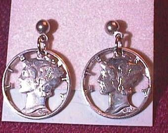 SILVER MERCURY DIME Cut Coin Earrings