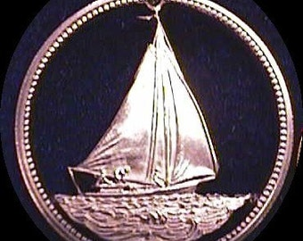 Sloop Cut Coin Pendant Bahama 25 cent Sail boat