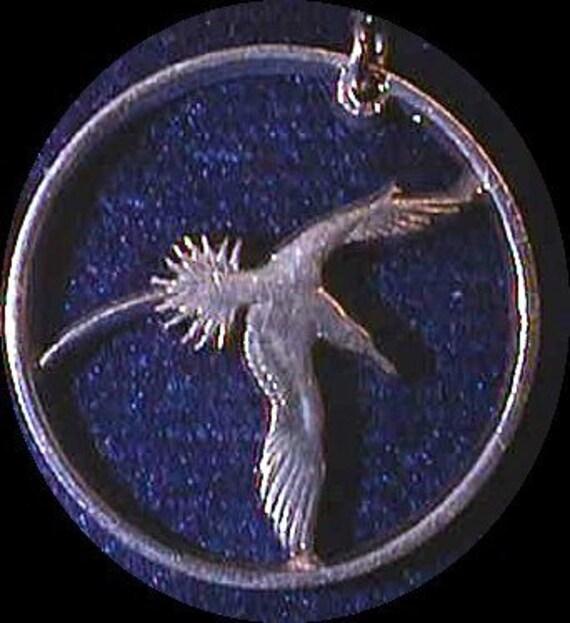 BERMUDA  Bird Cut Coin Necklace Real 25 cent coin Yellow Billed Bird of Paradise