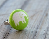 Adjustable Elephant Ring- Covered Button- New in the Shop