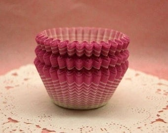 Cute Candy Pink Stripy mini cupcake cups (set of 50)