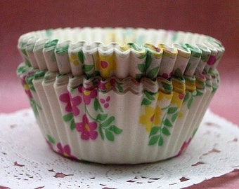 Cute Violet and Yellow Florals cupcake cups (set of 50)