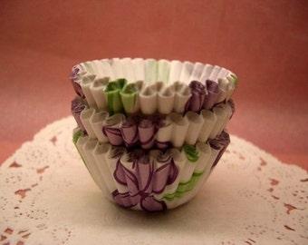 Cute Purple Florals mini cupcake cups (set of 50)