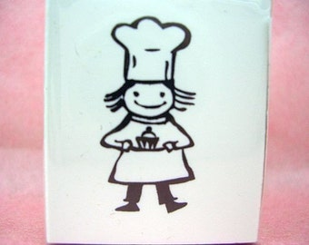 Cute Petite Pastry Chef rubber stamp