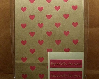 Cute Red Hearts on Kraft Paper Gift Bags (set of 12)
