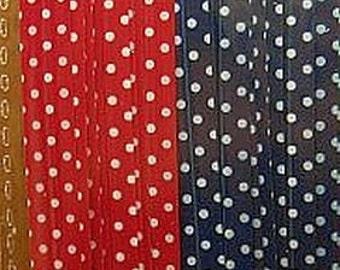FREE SHIPPING with another item Cute Navy and Red Polka Dots Long twist ties (set of 20)