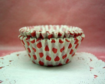 FREE SHIPPING with another item Cute Red Polka Dots small cupcake cups (set of 50)