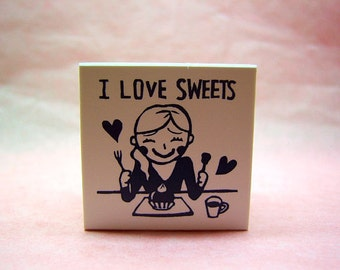 S A L E Cute I Love Sweets rubber stamp