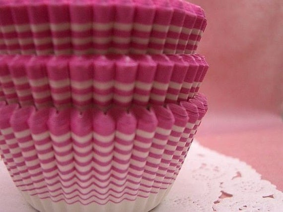 Cute Candy Pink Stripes cupcake cups (set of 50)