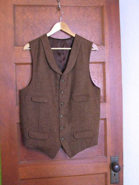 1900s Edwardian Men's Suits and Coats Custom Tweed Vests $275.00 AT vintagedancer.com