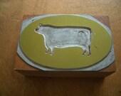 Vintage PRINTERS BLOCK - Sillouette of Cow