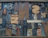 Antique Letterpress Printers WOOD & COPPER TYPE Mix 68 Pieces