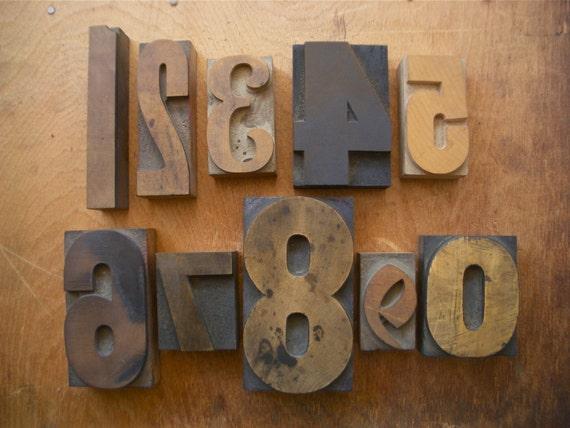 Vintage Letterpress Printers WOOD TYPE Numbers 0 thru 9
