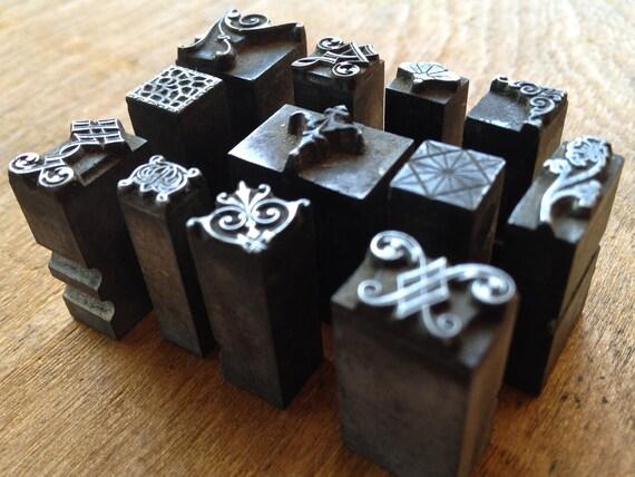 Antique Metal PRINTERS BLOCKS - Ornate Decorative dingbat 12 piece collection