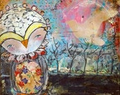 Mixed Media Owl- 8x8 inch Print of a Reproduction of the Original Mixed Media Painting Keep Calm by Juliette Crane
