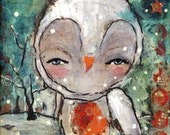 Owl Art Print - 8x8 inch Print of a Reproduction of the Original Mixed Media Painting Wish Upon A Star by Juliette Crane