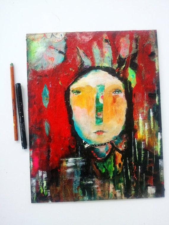 Primitive Raw Art Painting Original - Stay Strong - an Original Mixed Media Painting 11x14 by Juliette Crane